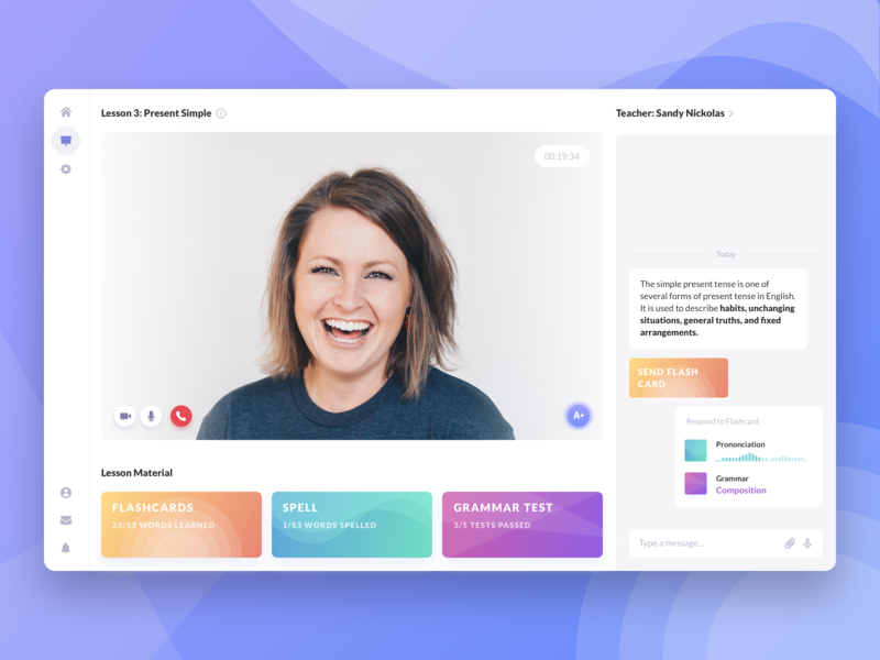 Weekly UI Challenge No.2 at @Cieden class ux website desktop ui gradient flashcards cards design chat app messages messenger call video call chat video chat