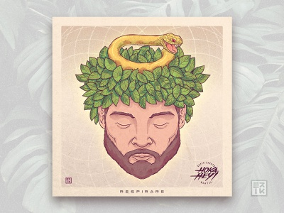 """Respirare - Hoka Hey"" Single Cover 👃🎵 orange breathing leaves snake indie music rock illustration music cover coverart"