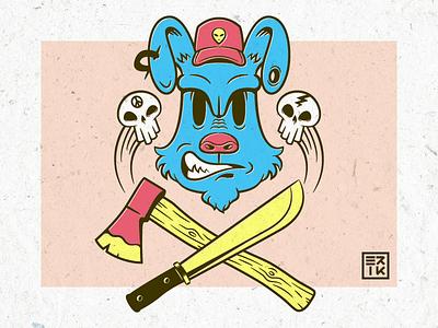 Watchdog cartoon retro vintage illustration machete axe skulls dog