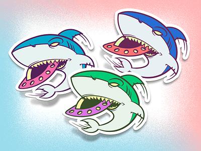Space Shark stickers vector art vector sticker shark saucer flying space ufo cartoon illustration