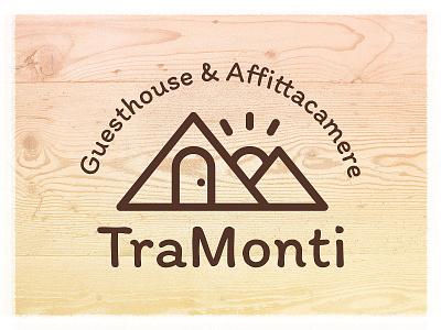 """TraMonti"" logo design vector illustration door sun mountains bed and breakfast guesthouse logo branding"