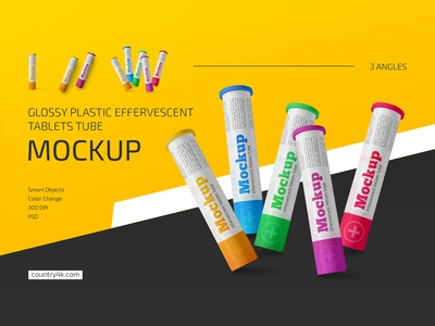 Glossy Plastic Effervescent Tablets Tube Mockup Set
