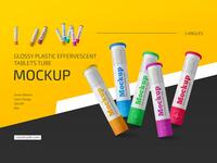 Glossy Plastic Effervescent Tablets Tube Mockup Set