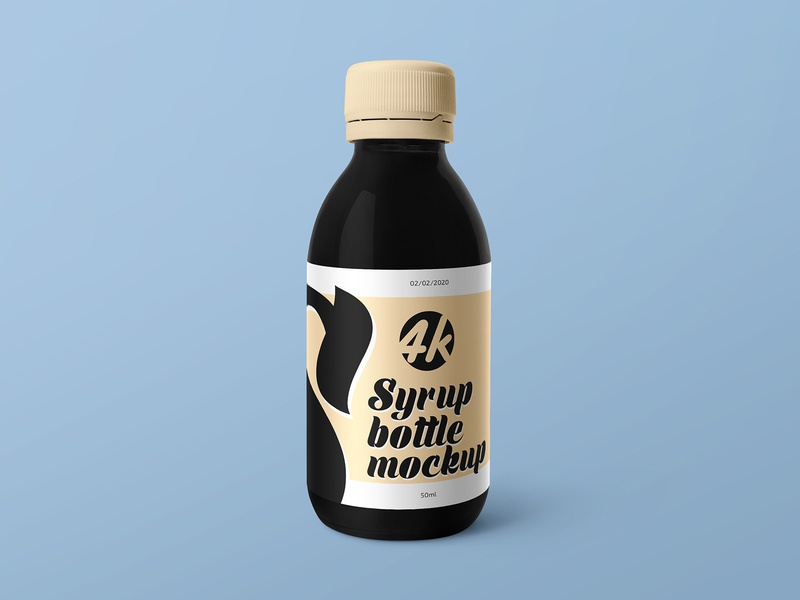 Free Syrup Medical Bottle MockUp PSD in 4k