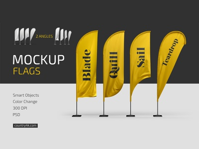 Feather Flags Mockup Set promo teardrop quill blade sail flag feather convex banner advertising outdoor mockup