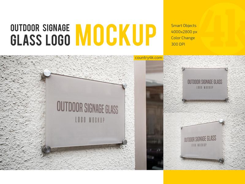 Outdoor Glass Signage Logo Mockup Set screw corporate identity nameplate reflective display signage branding glass logo outdoor mockup