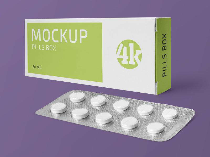 Free Paper Box and Tablets Blister Mockup vitamin pills pharmacy medicine health drugs box blister product freebie mockup free