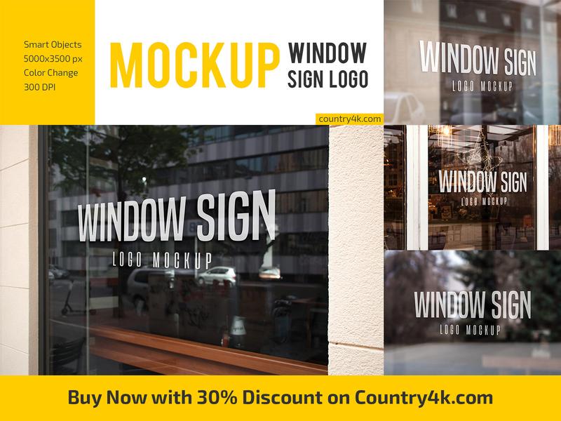 Window Sign Logo Mockup Set reflective signage identity branding window glass store cafe shop restaurant logo mockup