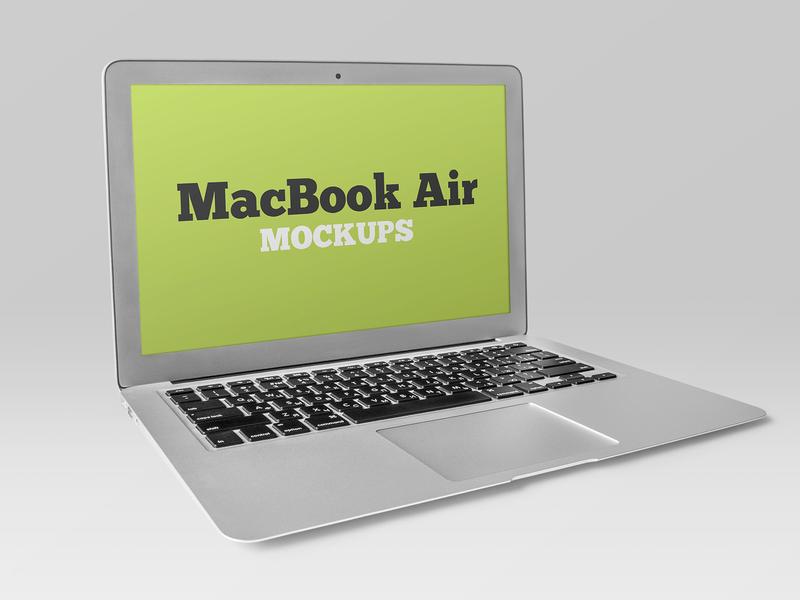 Free Silver MacBook Air Mockup screen web macbook air macbook laptop display device computer apple freebie mockup free