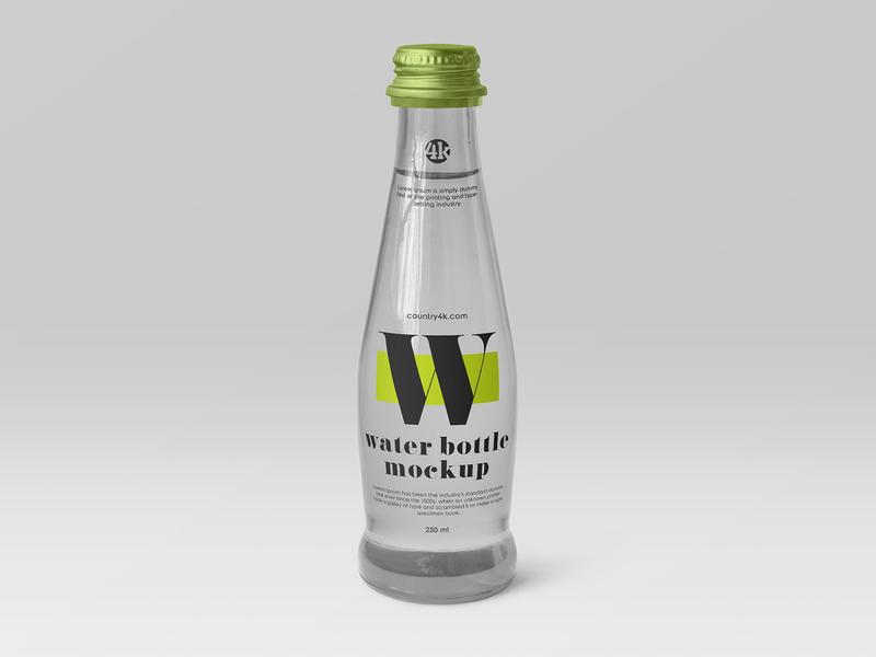 Free Glass Water Bottle Mockup health soda water mineral label glass drink bottle beverage freebie mockup free