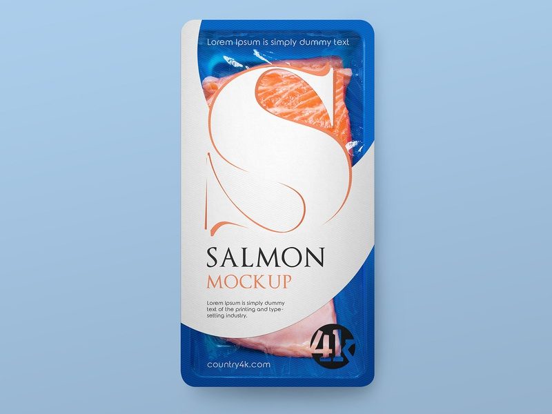 Free Tray with Fish Mockup tray plastic salmon label fresh fish film container freebie product mockup free
