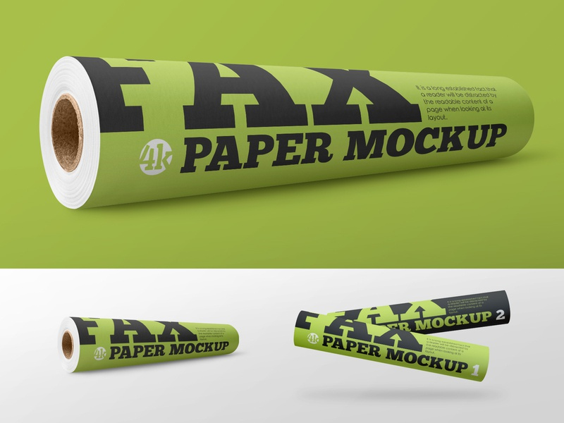 2 Free Matte Fax Paper Roll Mockups accessory tube stationery roll print office paper fax document freebie mockup free