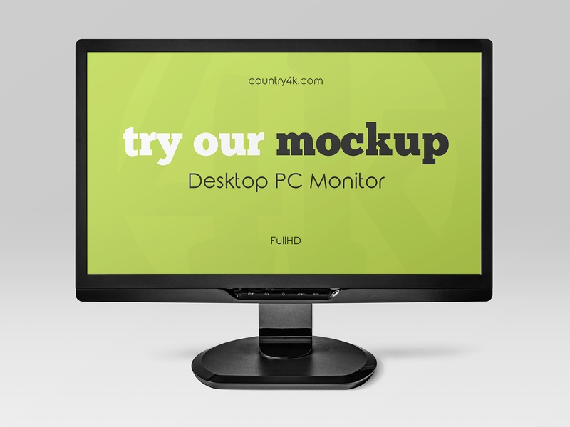 2 Free Desktop PC Monitor Mockups electronic multimedia website web tv technology screen monitor full hd freebie mockup free