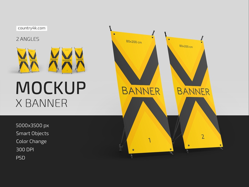 X Banner Mockup Set x banner stand rollup promotion flexible exhibition display commercial banner advertising advertisement mockup