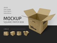 Square Paper Box Mockup Set package paper packaging gift carton cardboard delivery boxes paper box box mockups mockup