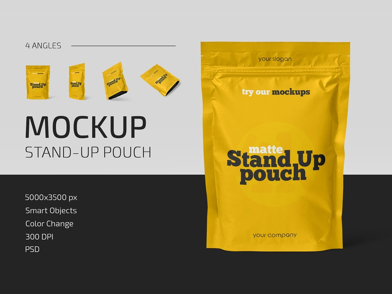 Matte Stand-Up Pouch Mockup Set sachet stand-up pouch packaging food foil doypack container coffee bag mockups mockup