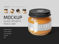 Glass Jar with Peach Jam Mockup Set organic packaging label bottle food jam jar glass bottle glass baby mockups mockup