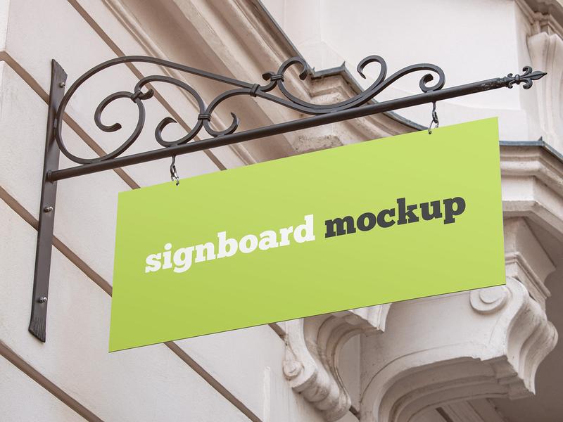 2 Free Rectangular Shop Signboard Mockups shop signboard signage sign logo banner advertising outdoor mockups mockup freebie free