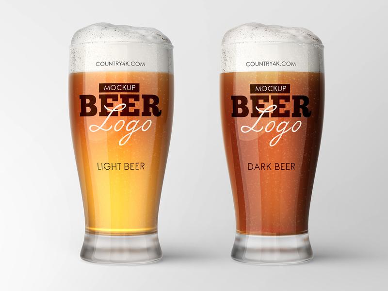 Free Beer Glass Mockup foam cup label craft alcohol drink logo glass beer freebie free mockup