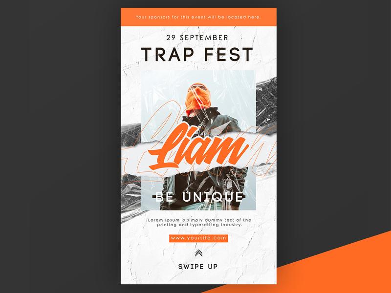 Free Trap Festival Instagram Story PSD Template fest trap party dj festival event concert club instagram stories instagram freebie free