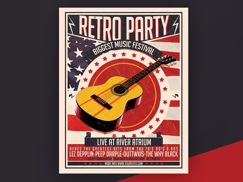 Free Retro Party PSD Flyer Template show flag music event vintage retro guitar concert flyer poster freebie free