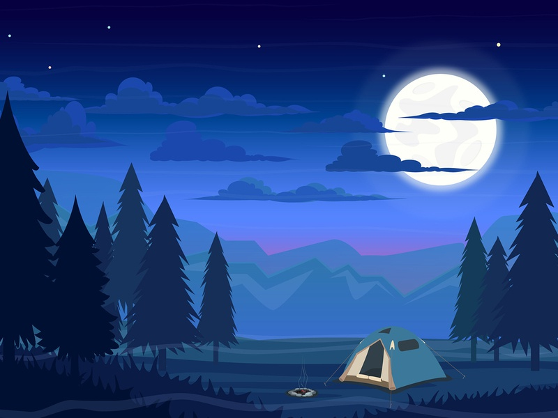 Free Night with a Tent in the Forest Vector Template mountain vector tent night moon illustration forest camping camp art freebie free