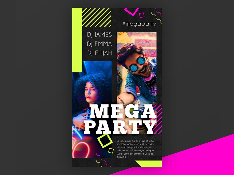Free Mega Party Instagram Story PSD Template electro night party instagram stories instagram dj event concert club template freebie free