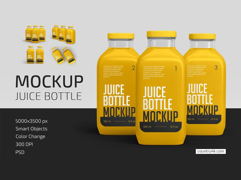 Juice Bottle Mockup Set organic smoothie packaging juice healthy glass fresh drink bottle beverage mockups mockup