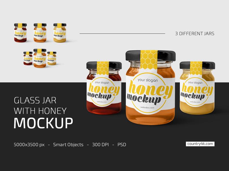 Glass Jar with Honey Mockup Set product label jar honey glass food confiture bottle bee logo mockups mockup