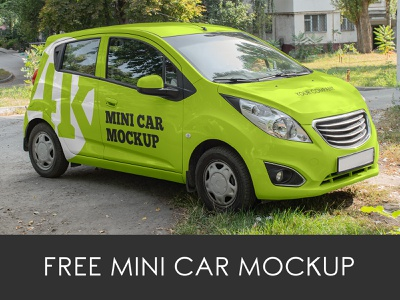 3 Free Mini Car Mockups transport vehicle delivery car branding advertising outdoor logo mockups mockup freebie free