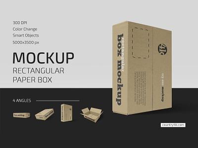 Rectangular Paper Box Mockup Set pack postman gift package delivery paper box box carton cardboard branding mockups mockup