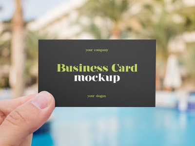 2 Free Hand Holding Business Card Mockups company identity holding business card pool outdoor logo branding mockups mockup freebie free