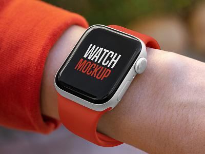 Smart Watch Mockup Set hand device interface branding screen display smart watch apple watch apple logo mockups mockup