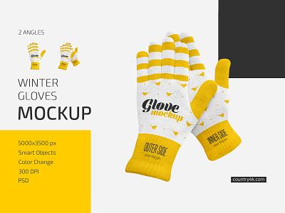 Winter Gloves Mockup Set warm winter gloves glove fashion clothing clothes arm accessory logo mockups mockup