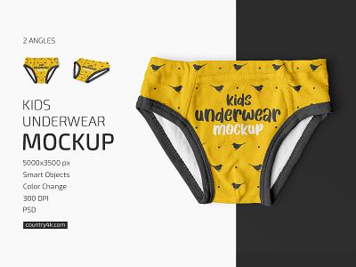 Kids Underwear Mockup Set children underwear toddler shorts pants kids clothes briefs baby apparel mockups mockup