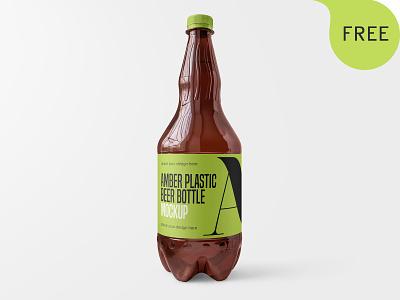 Free Amber Plastic Beer Bottle Mockup packaging kvass pet alcohol label bottle beer plastic amber mockup freebie free