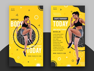 Free Fitness Instagram Story PSD Template activity workout training story sport instagram gym exercise fitness banner freebie free