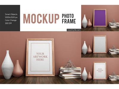 Photo Frame Mockup vase poster picture photo frame interior gallery frame flyer decoration book mockups mockup