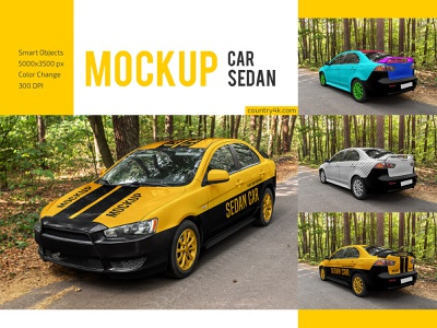 Car Sedan Mockup Set service transport realistic delivery branding vehicle auto sedan car advertising mockups mockup