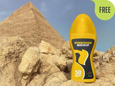 2 Free Spray Bottle Sunscreen Mockups spray sunscreen care pyramid packaging cosmetic branding bottle body mockup freebie free