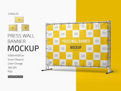 Press Wall Banner Mockup Set display wall stand promotion marketing communication commercial billboard banner advertising mockups mockup