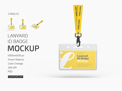 Lanyard ID Badge Mockup Set branding corporate stationery office identity id card company business badge logo mockups mockup