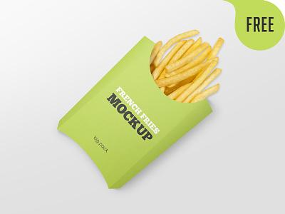 Free Paper French Fries Box Mockup paper box take away potato packaging fast food food logo mockup freebie free