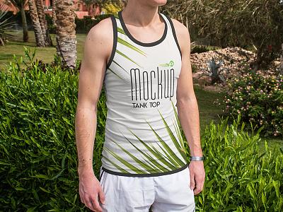3 Free Tank Top PSD Mockups tank top t-shirt summer palm man fashion clothing 4k psd product mockup free