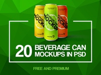 20 Free and Premium Photo-Realistic Beverage Can MockUps in PSD