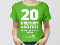 20 Premium and Free Photo-Realistic T-shirt MockUps in PSD