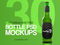 30 Premium and Free Photo-Realistic Bottle PSD MockUps
