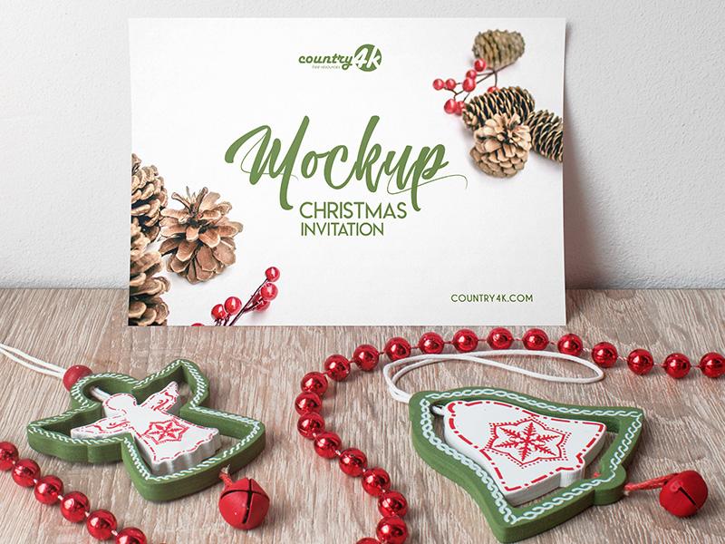 Free Christmas Invitation PSD MockUp in 4k christmas card table new year holiday invitation xmas christmas psd mockups product mockup free