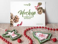 Free Christmas Invitation PSD MockUp in 4k