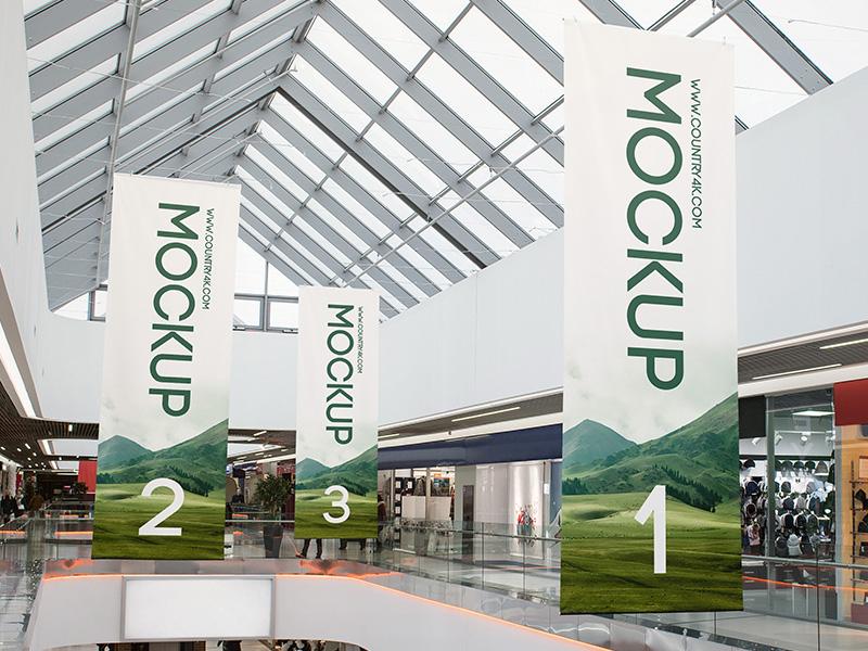 2 Free Shopping Center Banner PSD MockUps in 4k poster shopping center shopping shop banner advertising ad psd product free mockup mockup free
